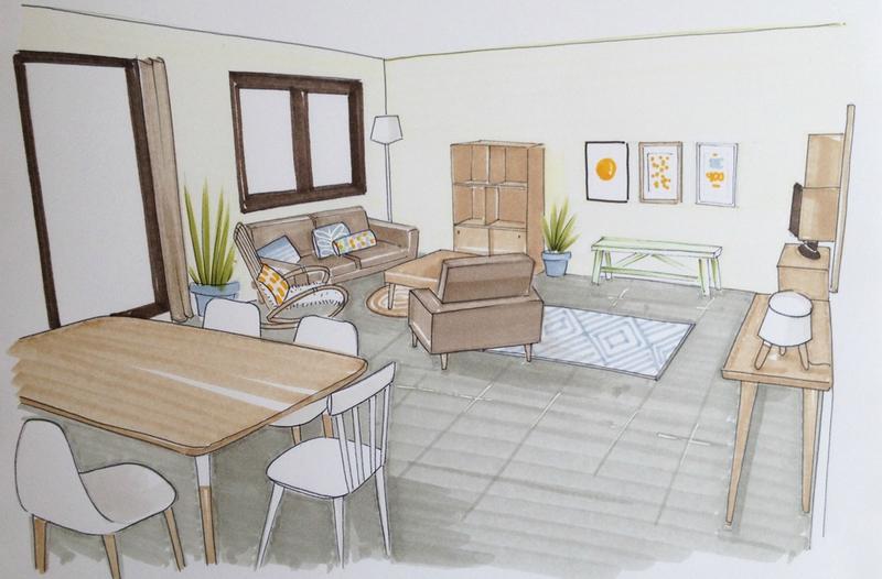 Comment Dessiner Une Piece En Perspective : Une pièce à vivre dans les landes