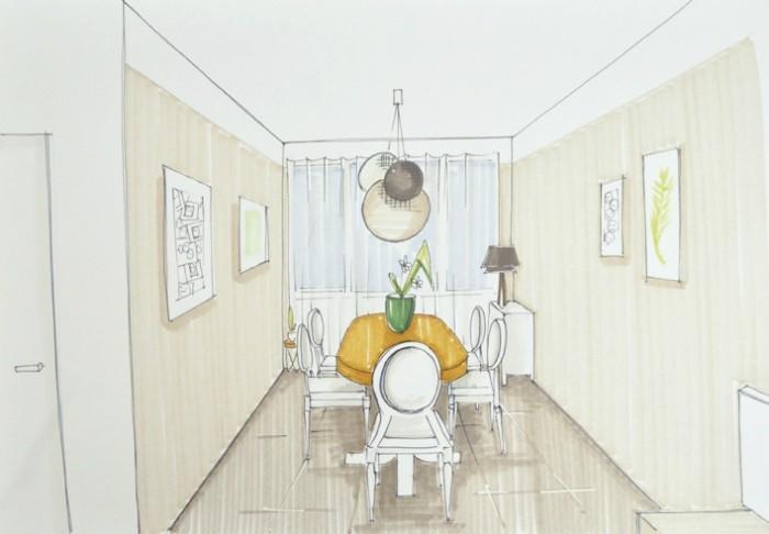 croquis pour un salon rustique et moderne